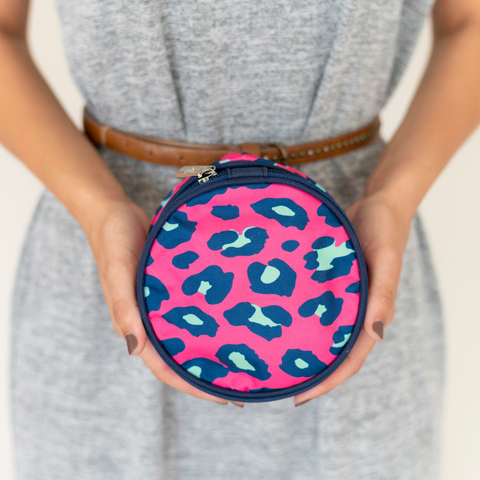pink jewelry bag, leopard jewelry case