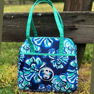 blue floral lunch tote