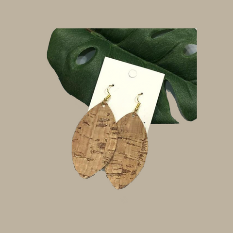 earrings, cork dangling earrings, teardrop earrings