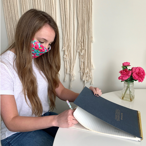 pink floral mask, adult face cover