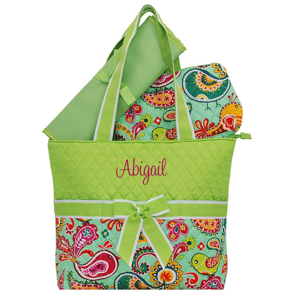 Personalized this Paisley Bird diaper bag, this is great for both girls and boys