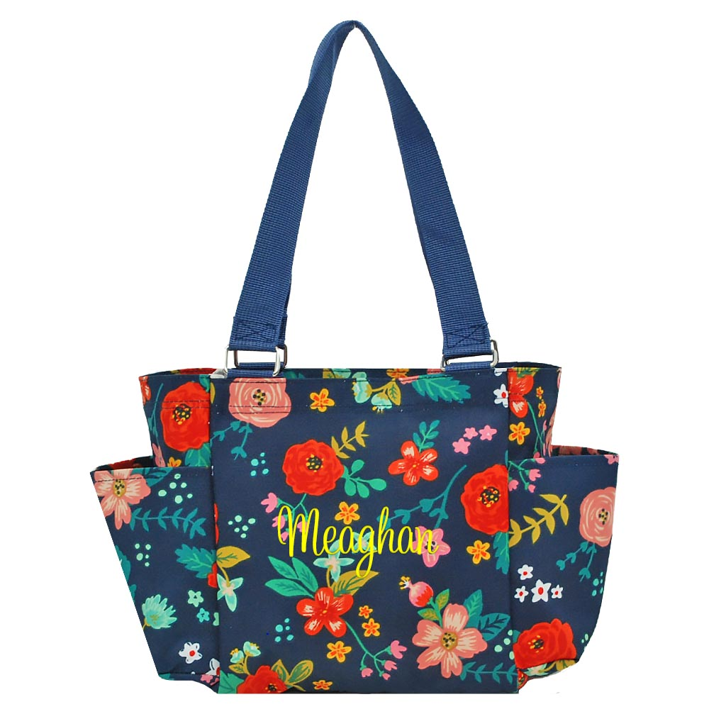 Personalized these Floral Utility Tote Bag, perfect for travelling, camping and on-the-go organizer.