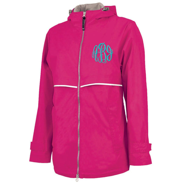 hot pink jacket, pink rain coat