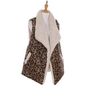 Personalized this lovely Leopard Print Sherpa Vest, one size fits in all.
