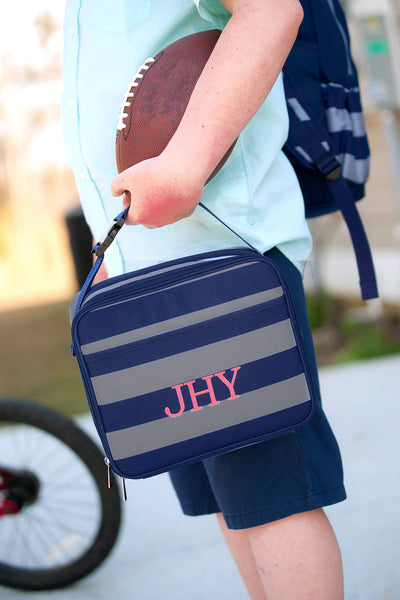 Personalized Striped Lunch Bag