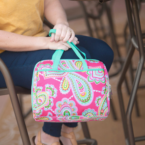 Pink Paisley Lunch Bag with Mint Trim