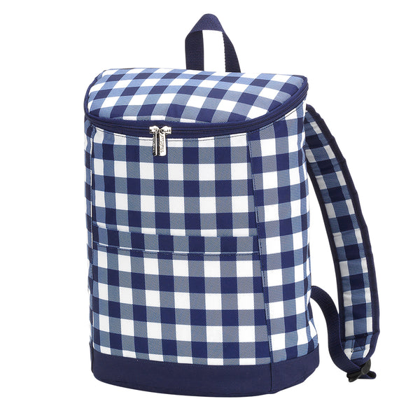 Navy Check Backpack Cooler Bag