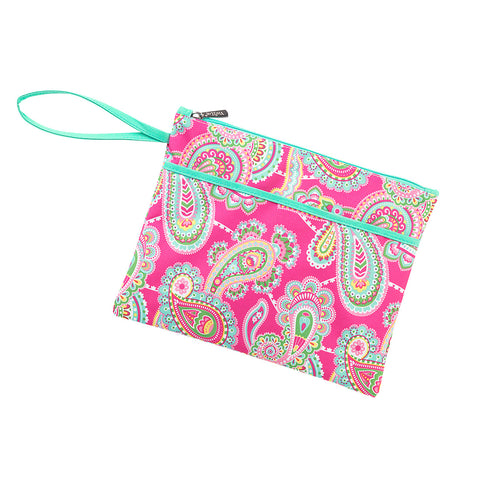 Personalized this Pink Paisley Wristlet with Mint Trim
