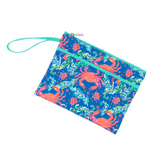 Personalized this Blue Sand Hopper Zip Pouch Wristlet