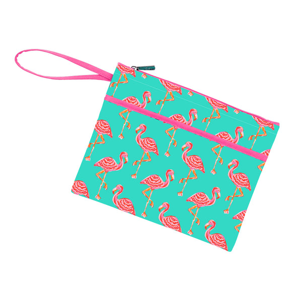 tickled pink zip pouch wrislet