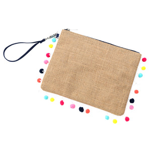 Personalized this Burlap Wristlet with Pom Pom Trim