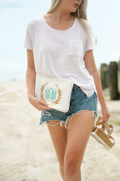 White with Gold Foil Clutch