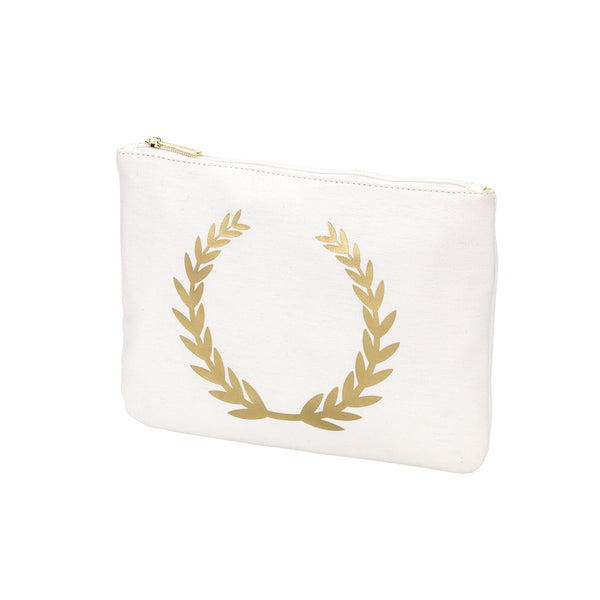 Personalized this Gold Foil Wreath Zip Pouch