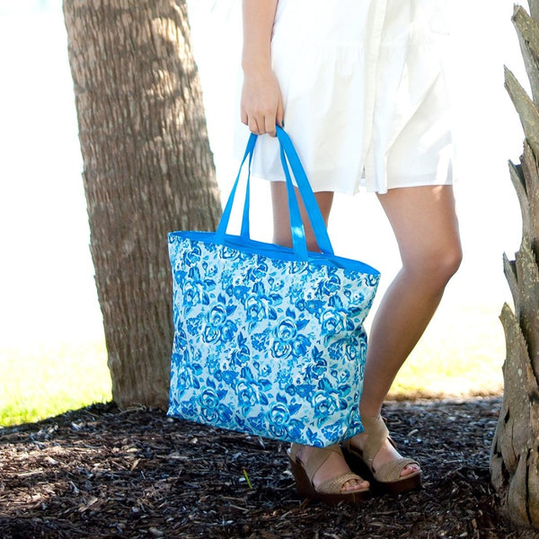Personalized Blue Flower Shoulder Bag