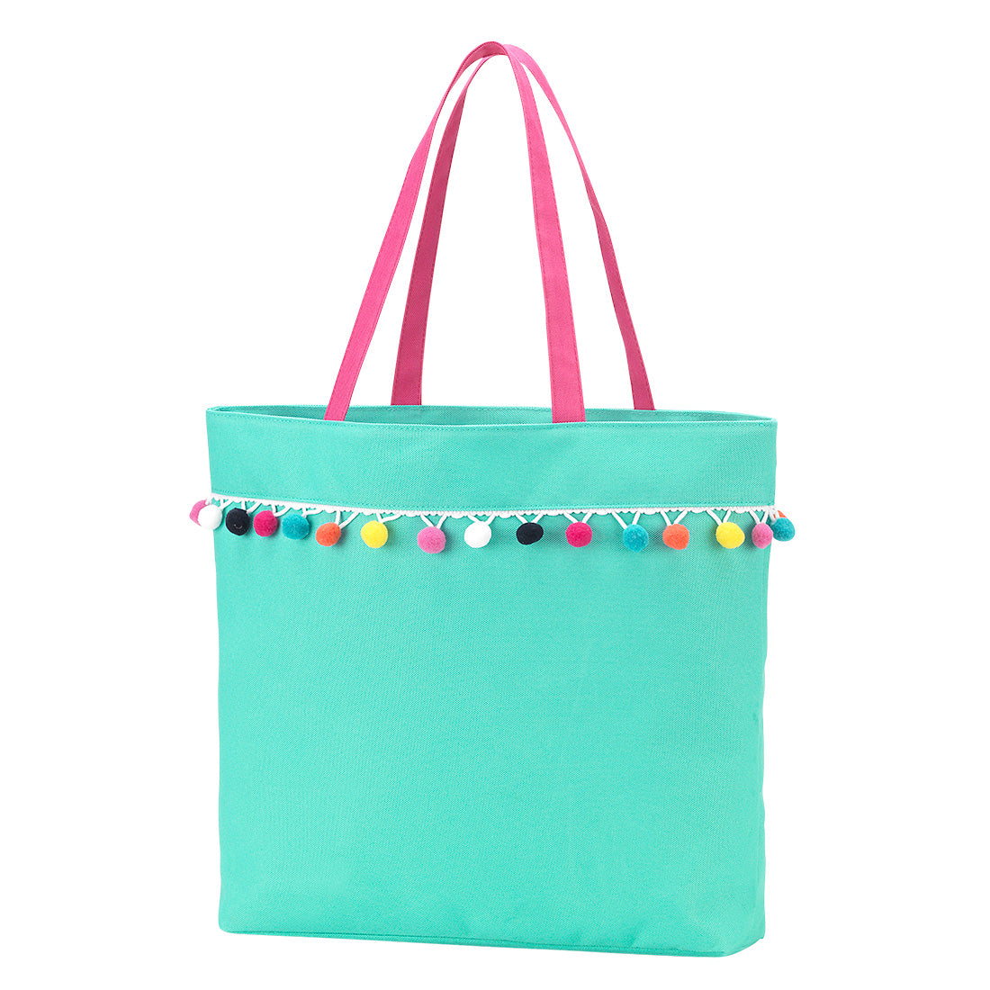 Personalized this Mint Tote Bag with Pompom Trim