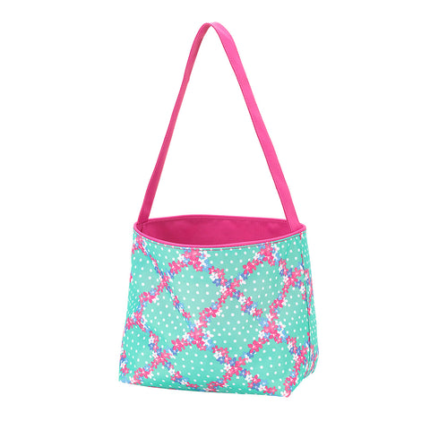 Personalized this Penelope Easter Bucket, mint color with hot pink trim