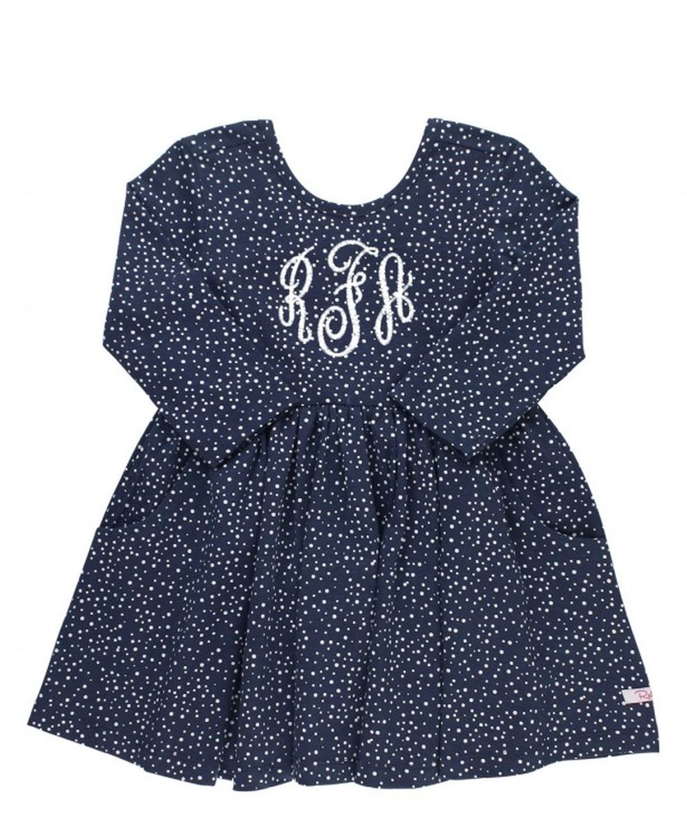 Twirl Dress Navy with Polkadots