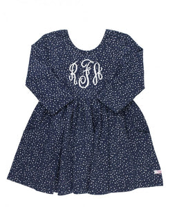 navy dress, polka dot dress