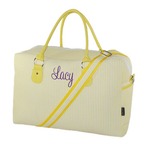 Yellow Seersucker Duffle Bag 20""
