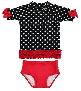 Red Bikini with Polka Dot Rash Guard
