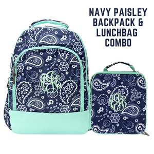 Navy Paisley with Mint Trim Combo