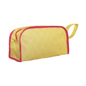 Personalize this cute yellow basket weave cosmetic case with pink trim,perfect to toss into a carry-on.