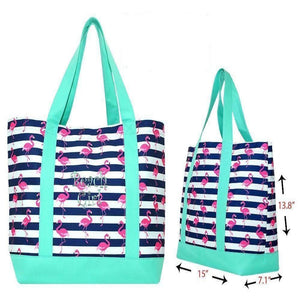 Personalized this Navy Stripes Flamingo Beach Bag
