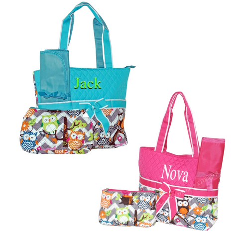 Personalized this adorable owl print diaper bag, perfect as an organizer bag and can be a personalized gift any would appreciate.