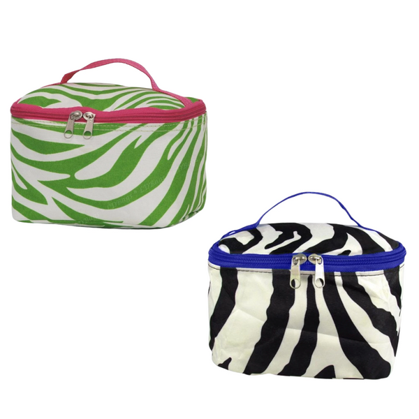 Personalized this Zebra Print Cosmetic Bag, easy to pack and perfect for travel.