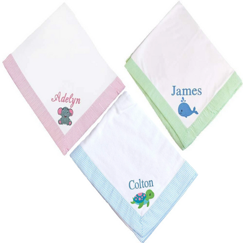 Personalized these Seersucker Blanket for your babies.
