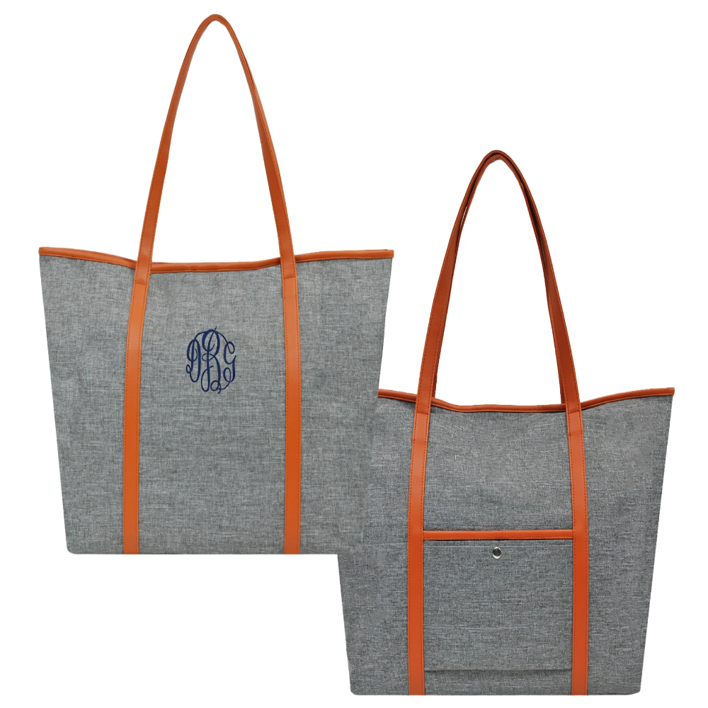 Personalized this gray tote bag, can be used for anything. It's sporty enough to take to the gym and stylish enough for the office followed by a night out on the town.
