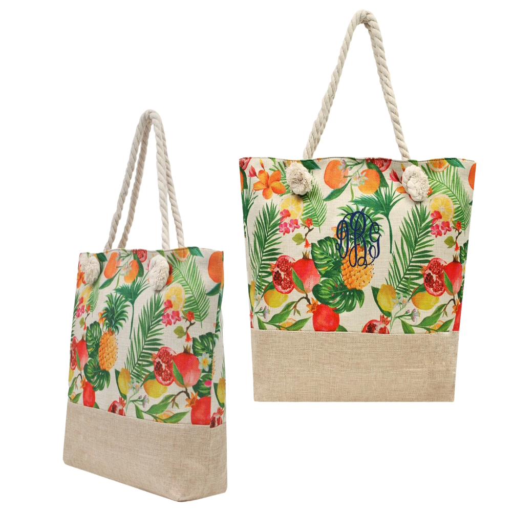 Personalized this Summer Fruit design tote bag, perfect for everyday use.
