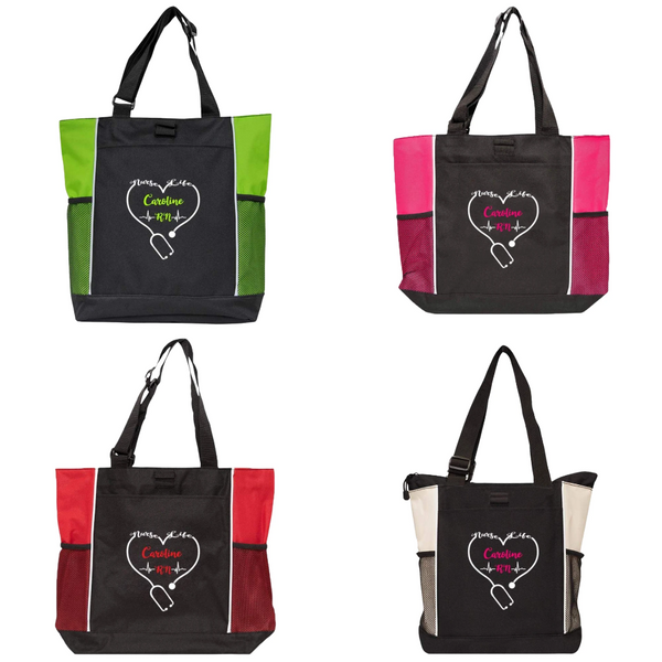 Personalized this two-color tote bag, perfect to give as a gift for your nurse friend.