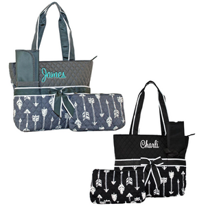 Personalize this 3 Piece Quilted Arrow Diaper Bag.