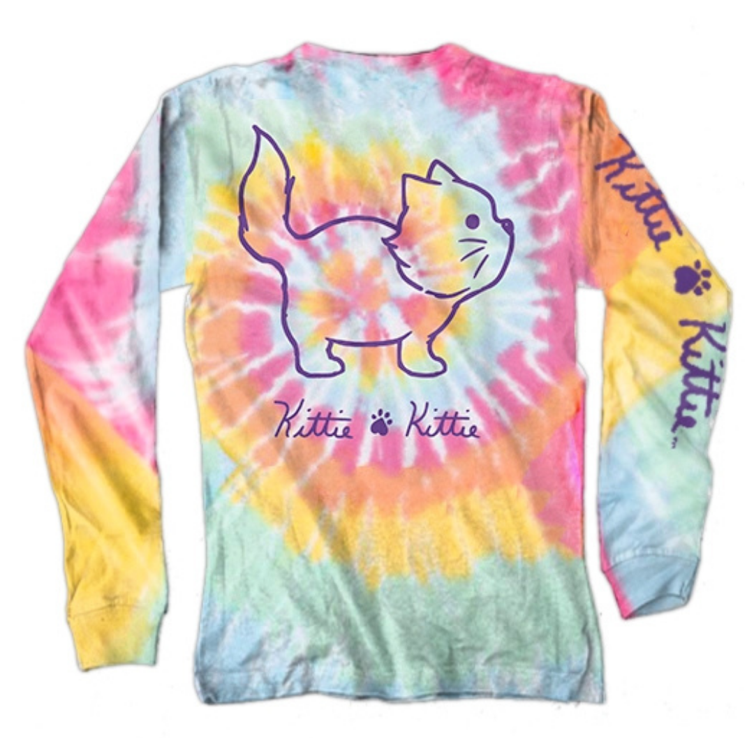 tie dye long sleeve, tie dye tee, kittie tee, cat tee