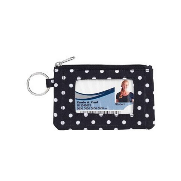 black dotted wallet keychain