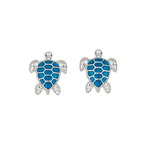 Blue Enamel Sea Turtle Post Earrings
