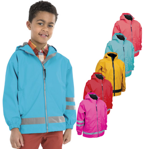 Personalized this Childrens Rain Coat in comes in different colors, available size for 4 - 7 years old.