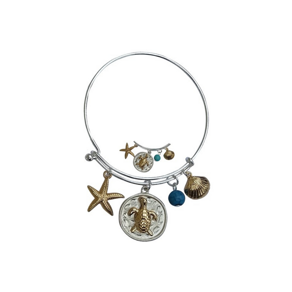 4 Pendant Sea Turtle Nautical Charm Bangle