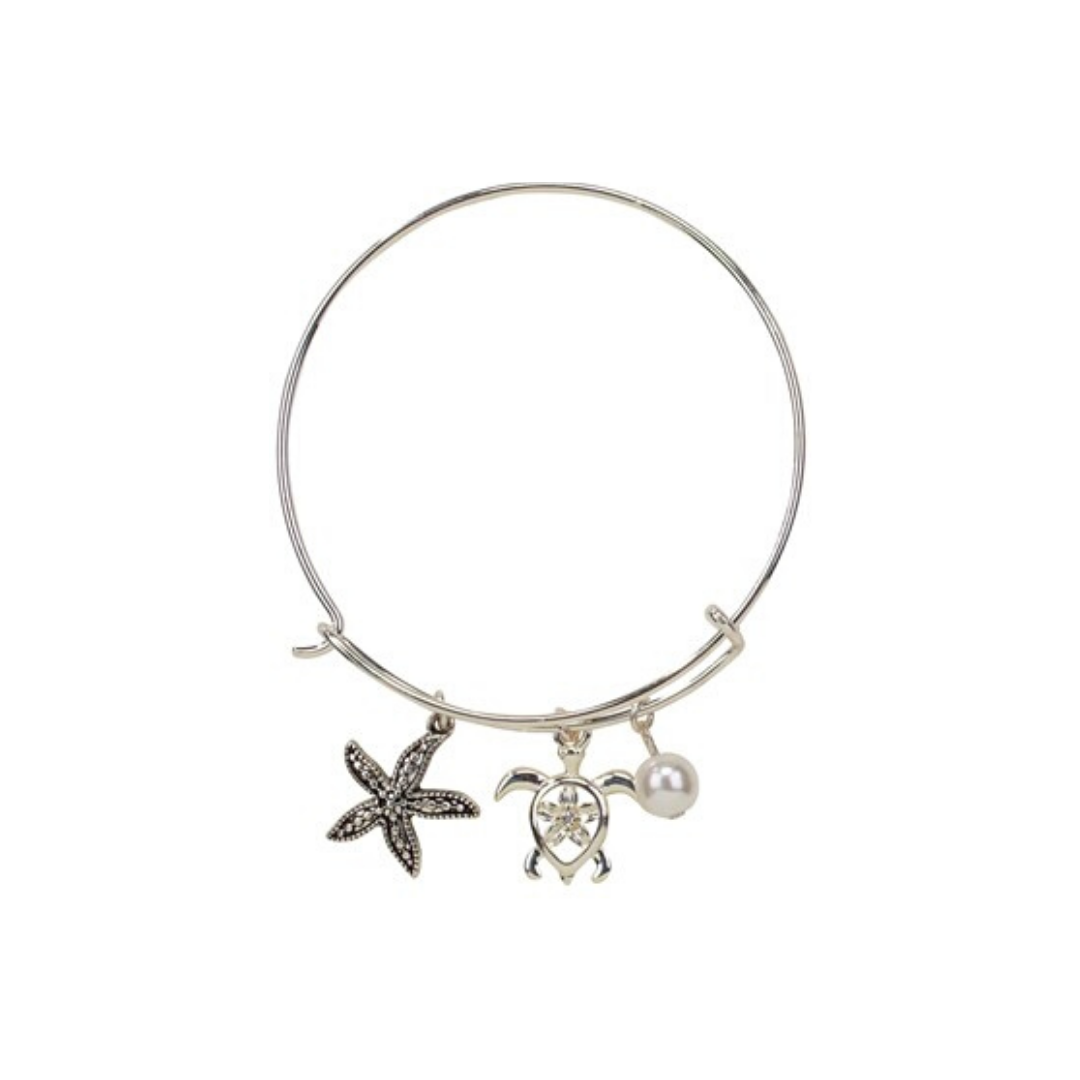 Starfish, Turtle and Pearl Slide Bracelet