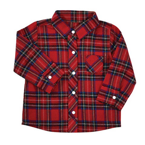 red shirt, plaid, button shirt, baby clothing