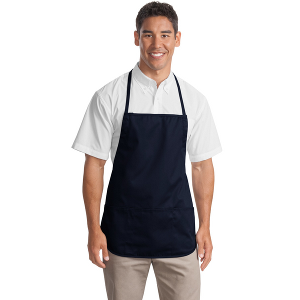 Medium Length Apron with Three Patch Pockets