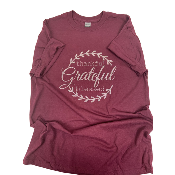 Grateful Maroon Tee, thankful tee