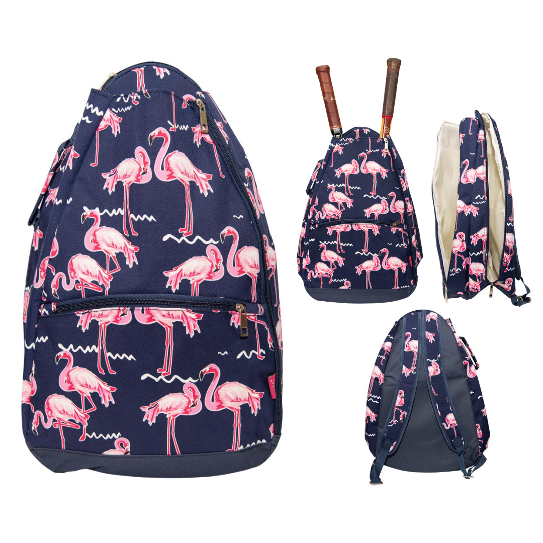 Personalized this lovely Flamingo Tennis Backpack, can be used as a gift as well.