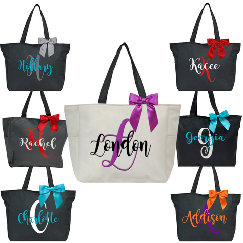 Personalized this Zip Tote comes in different colors and you can choose what color of vinyl and bow for personalization
