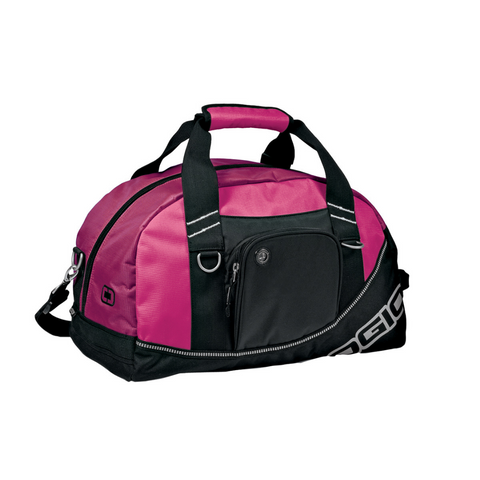 pink duffle, pocket duffle, audio pocket duffle, duffle
