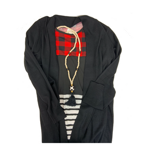 women's clothing, black cardigan