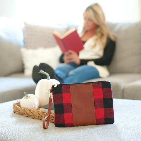 red buffalo check purse