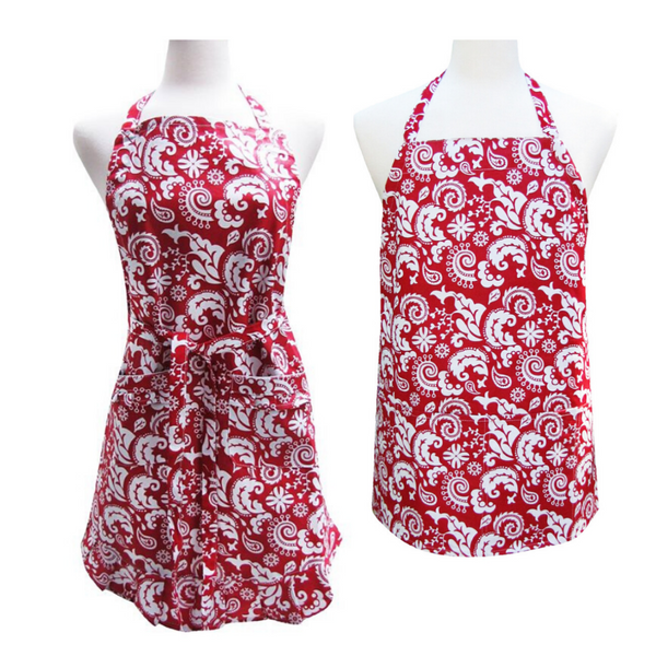 Red Damask Utility Apron