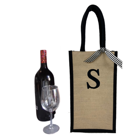 wine tote, tote with bow, champagne tote, wine bag